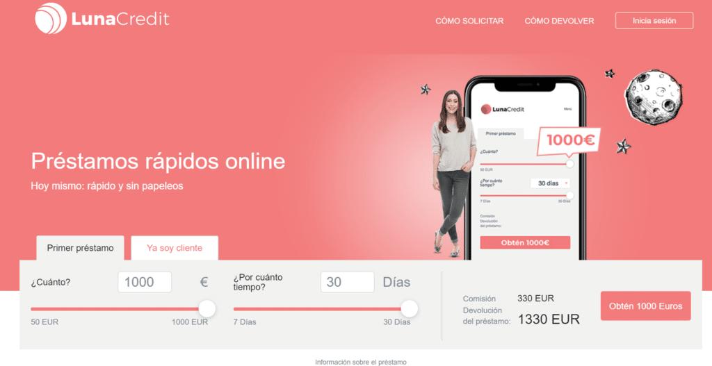 Lunacredito ofrece hasta 1.000 euros.