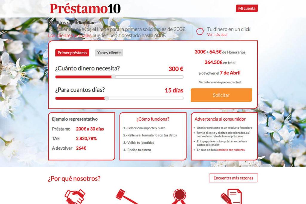 Préstamo 10 es una empresa de créditos online.