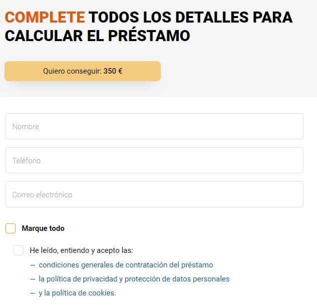 Formulario de solicitud de 350€ en Prestamer