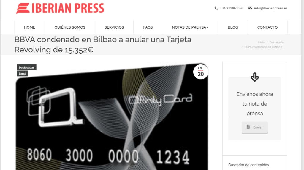 BBVA fue obligado a devolver más de 15.000 euros y anular el contrato de una tarjeta Affinity Card.