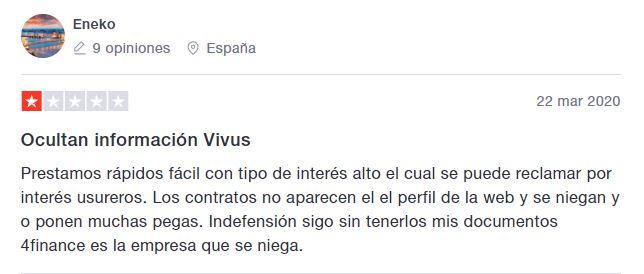 Los usuarios de Vivus evidencian falta de transparencia.