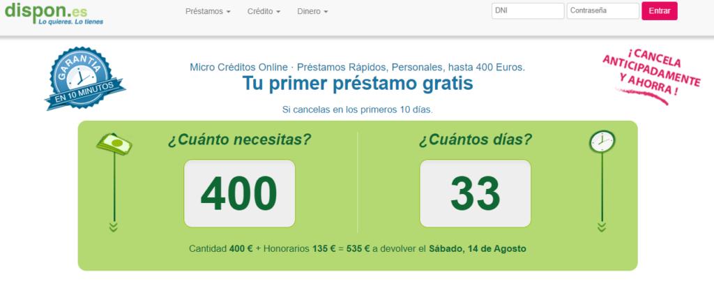Dispon ofrece microcréditos de hasta 400 euros con un plazo máximo de 33 días.