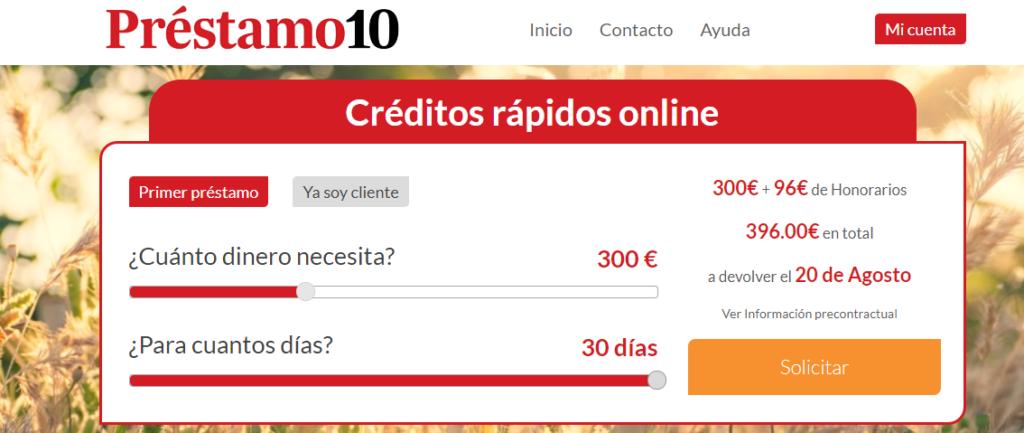 Préstamo 10 permite hacer una simulación del crédito en la página web.