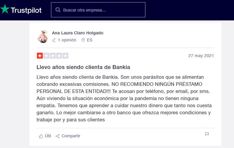 Clientes de Bankia han manifestado ser víctimas de acoso con llamadas constantes cuando se presenta un retraso.
