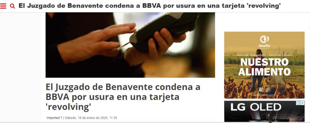 En 2018 se condenó a BBVA por una tarjeta revolving que utiliza más de 27% TAE de interés.