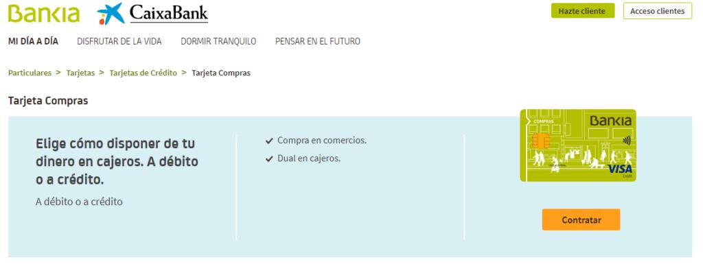 Desde el sitio web de Bankia puedes gestionar tu tarjeta Visa Compras.