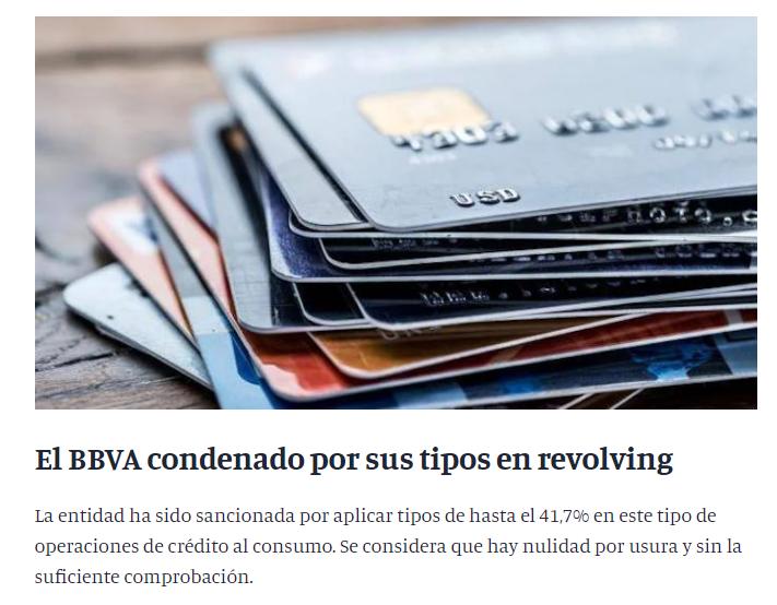 La tarjeta revolving de BBVA aplica hasta 41% TAE de interés.
