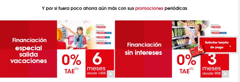 Los pagos a plazos de la tarjeta Eroski en otros establecimientos comerciales aplican intereses superiores al 20% TAE.
