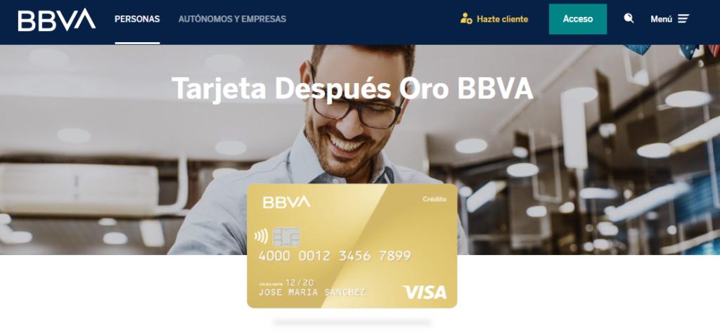 Una de las tarjetas revolving que ofrece BBVA es la Después Oro.