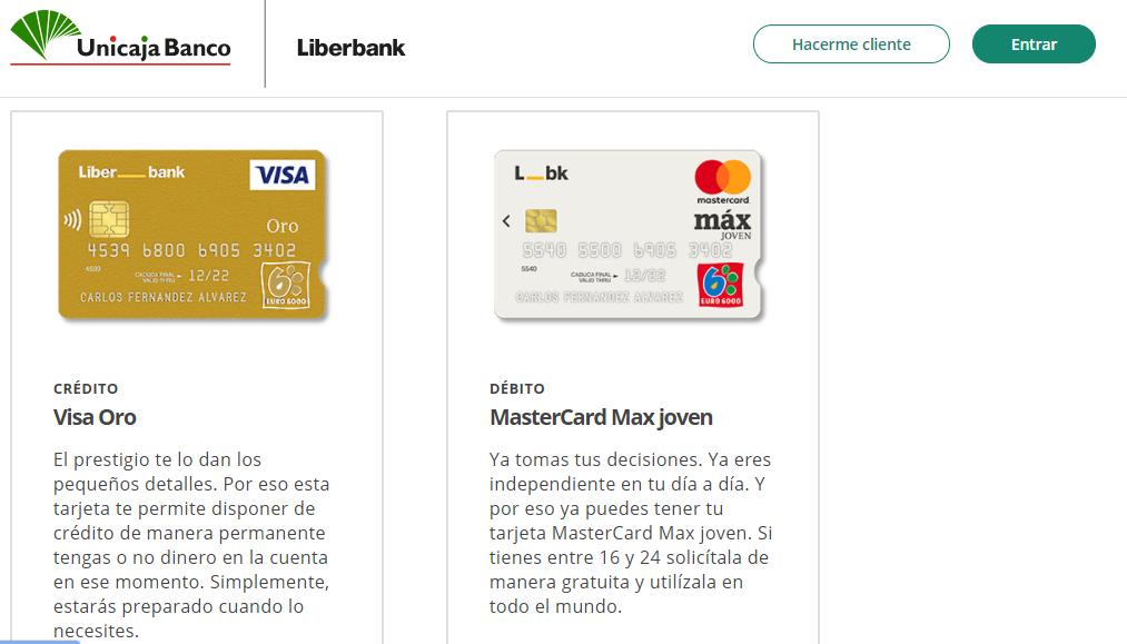 Liberbank ofrece varias tarjetas de crédito, entre ellas la Visa Oro.