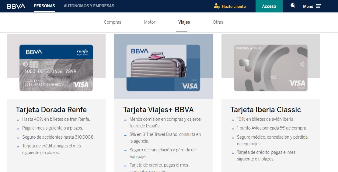 BBVA ofrece tarjetas de crédito revolving para pagar billetes y hospedajes.
