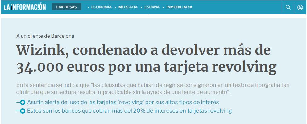 En Barcelona un juez determinó que la letra del contrato de una tarjeta Wizink era demasiado pequeña y los intereses usurarios.