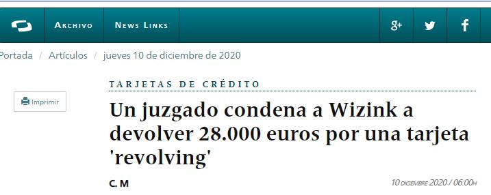 Wizink devolvió 28.000 euros por cobrar intereses demasiado altos.