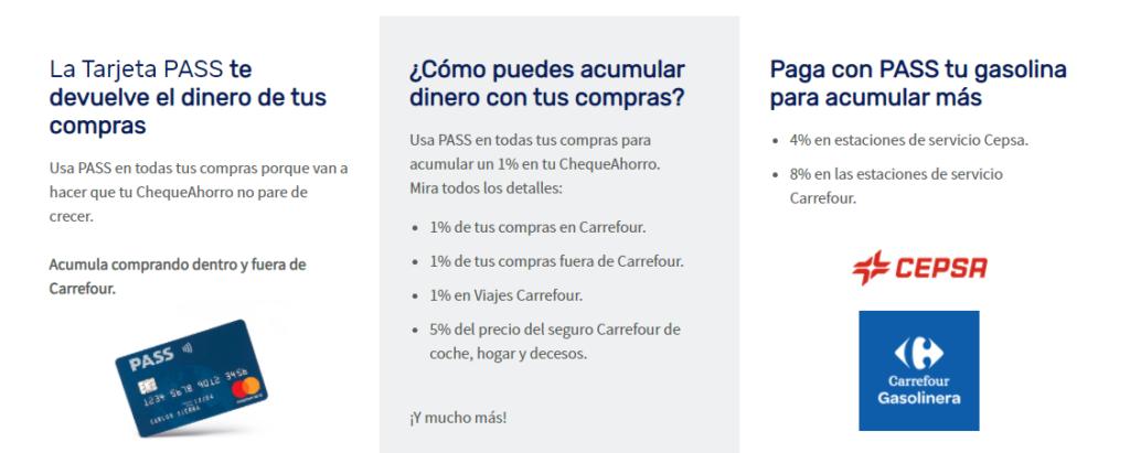 La tarjeta Carrefour Pass promociona devolución del dinero que pagas en tus compras.