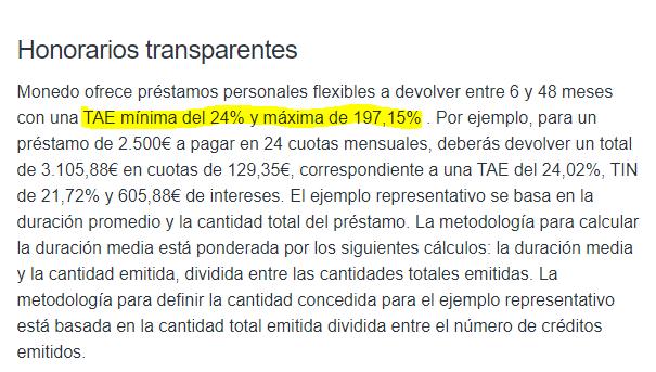Según el sitio web el interés mínimo es de 24% y máximo de 197% TAE.