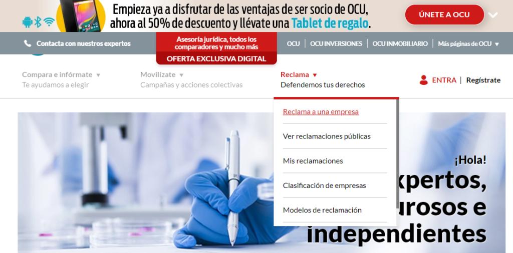 En la página web de OCU puedes iniciar el proceso de reclamación.
