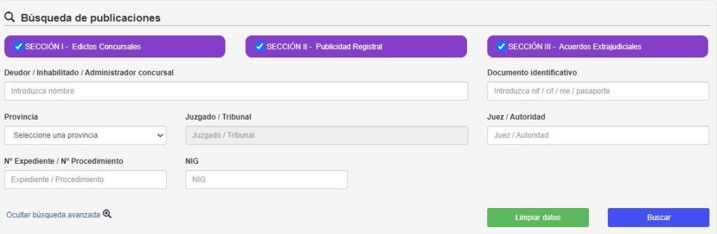 Formulario de búsqueda de publicaciones de concursos