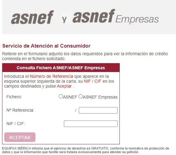 Formulario para consultar ASNEF desde su página web
