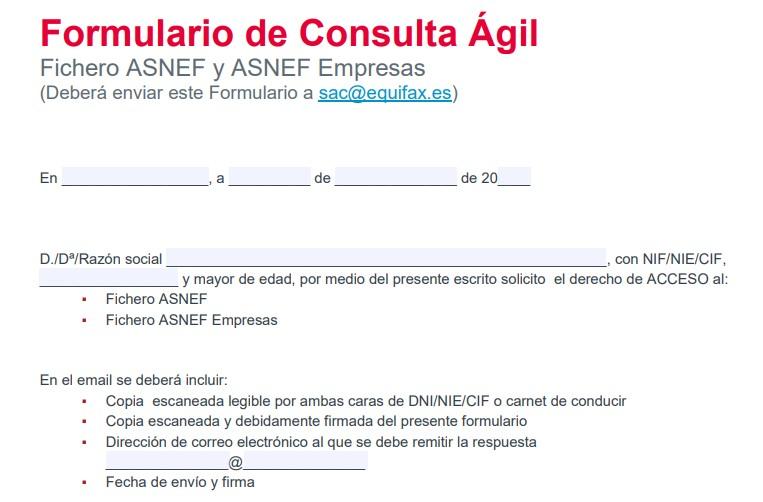 Formulario de consulta ágil ASNEF