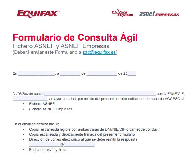 Formulario para consultar ASNEF vía correo electrónico