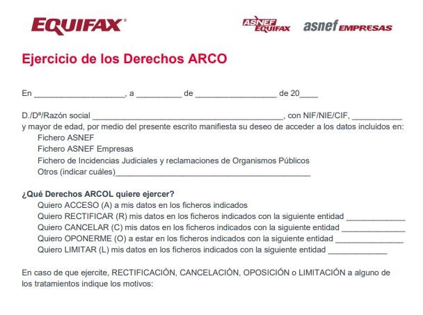 Formulario de ejercicio de derechos ARCOL Equifax