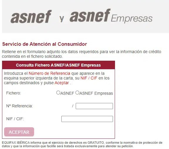 Formulario para consultar ASNEF online