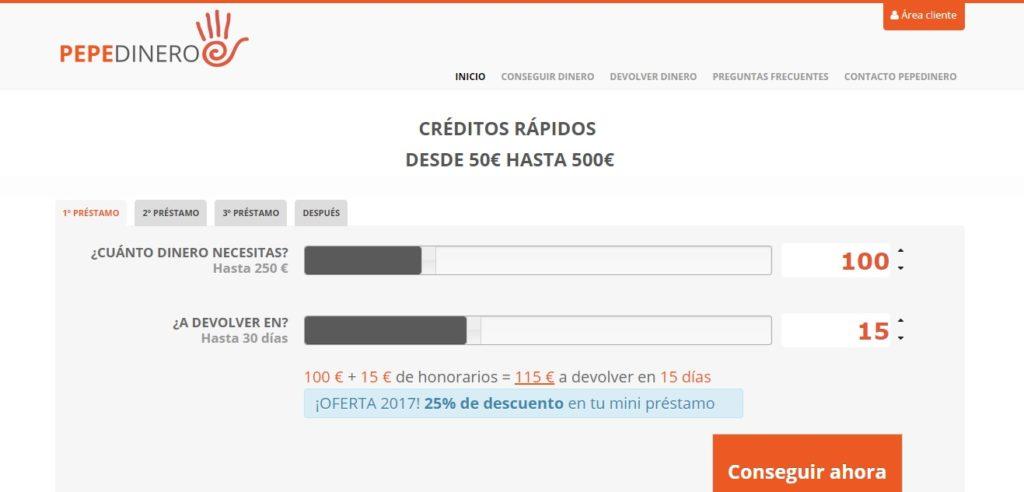 Calculador de créditos rápidos Pepe Dinero